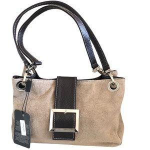 Small Suede Shoulder Bag Contrast Trim New